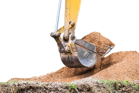 dig: Large backhoe heavy dig soil stone, isolated Stock Photo