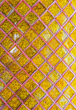 punctuate: Pattern of thai traditional decorate on temple door wall Stock Photo