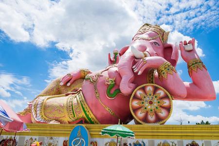 chachoengsao: Lord ganesh big statue pink sleep at wat saman temple, chachoengsao, thailand