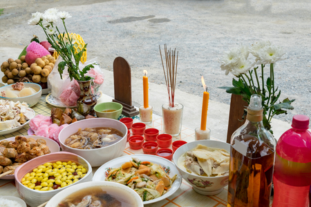 ancestors: Festival celebration thai-chinese to worship ancestors with variety food and dessert Stock Photo