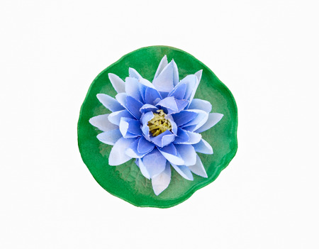 mulberry paper: Blue lotus made of mulberry paper,isolated on white background Stock Photo