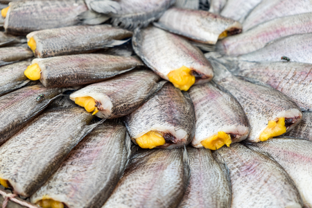 vend: Snakeskin Gourami Fish,Pla Salit fish,Trichogaster pectoralis, dry overlay local cuisine in thailand