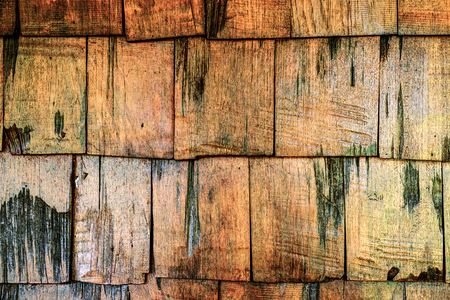 cedar shakes: Wooden roof old brown color