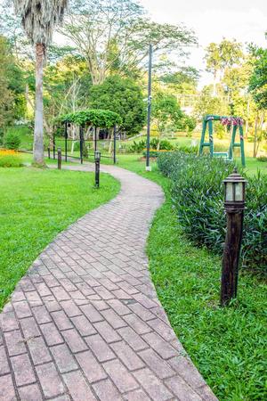 shady: Walkway and path brick in shady garden Stock Photo