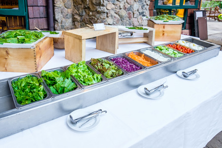vegetable tray: White table salad vegetable various types in tray for party buffet