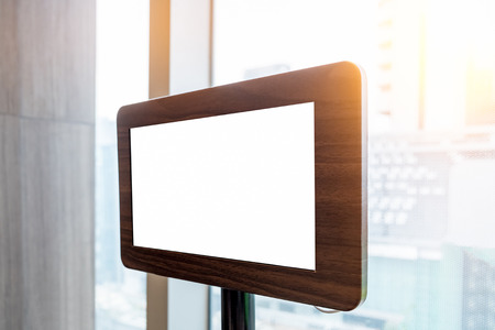 top menu: Tablet blank screen on table with the modern menu order at capital
