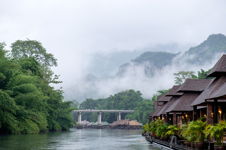 waterside: Mountain in mist scenic natural in rainy season