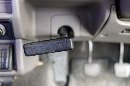 obsolete: Hand brake obsolete inside pickup car Stock Photo