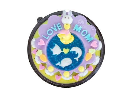 gelatin: Jelly cake decorate with cartoon animal celebrate for mothers day,isolated on background