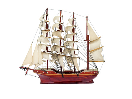 ship with gift: Barque ship gift craft model wooden,isolated on background