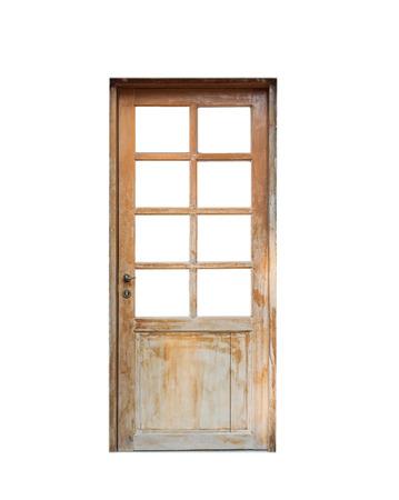 door casing: Wooden door front house,isolated on background Stock Photo