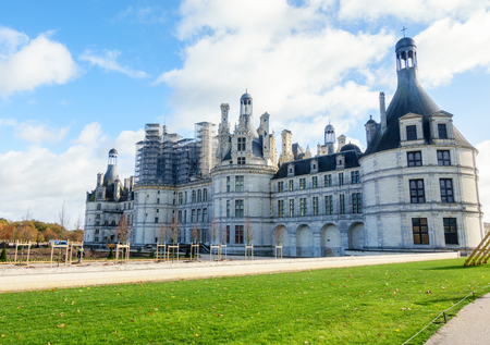 civilized: Chateau de chambord,architecture royal medieval french castle in loire valley,france,europe Stock Photo