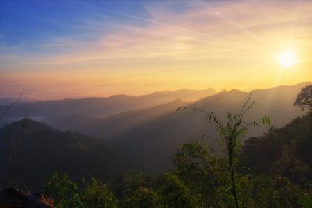 Sunrise colorful mountain scenic in morning,kanchanaburi,thailand Stock Photo