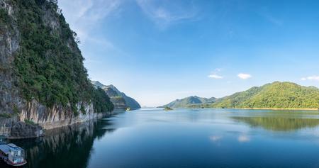 Dam blue water with mountain range clear panorama scenic,vajiralongkorn,khao laem,kanchanaburi