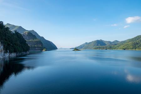 Dam blue water with mountain range clear,vajiralongkorn dam,khao laem,kanchanaburi