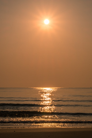 Golden sea sand beautiful shine in morning Stock Photo