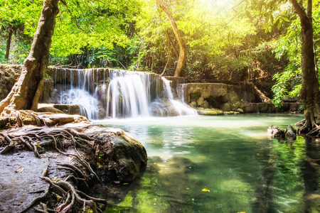 Waterfall deep forest scenic natural at huai mae khamin national park,kanchanaburi,thailand Stock Photo