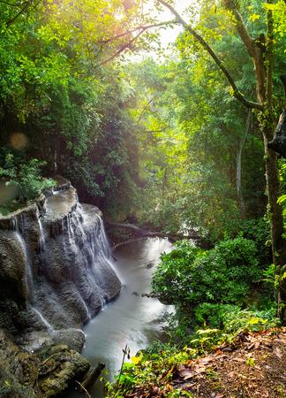 Waterfall scenic natural sunlight morning at huai mae khamin national park,kanchanaburi,thailand Stock Photo