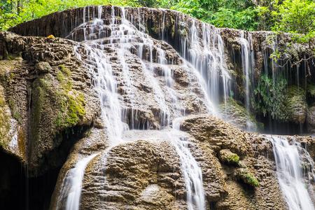 Waterfall soft scenic natural at huai mae khamin ,kanchanaburi,thailand