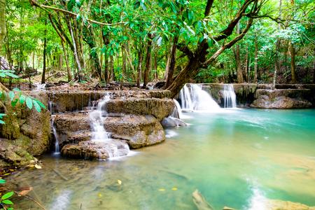 Waterfall scenic natural in rainforest at kanchanaburi,thailand