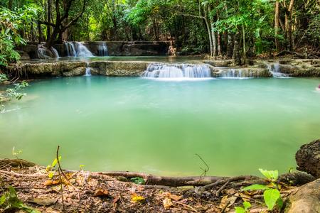 Waterfall deep forest with timber scene at huai mae khamin ,kanchanaburi,thailand