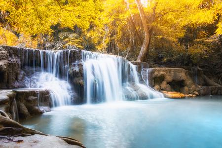 Scenic waterfall in rainforest on autumn season at Huai Mae Khamin , Kanchanaburi, Thailand Stock Photo