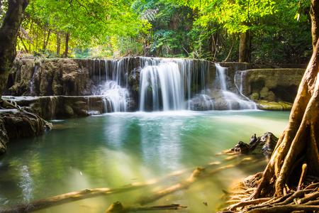 Waterfall clear scenic natural at huai mae khamin ,kanchanaburi,thailand