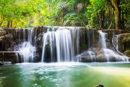 Waterfall scenic natural sunlight at huai mae khamin ,kanchanaburi,thailand Stock Photo