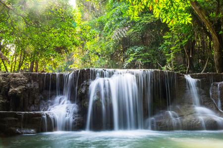 Waterfall deep forest scenic natural sunlight at huai mae khamin national park,kanchanaburi,thailand
