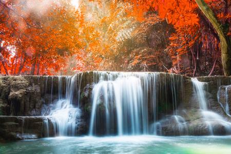Waterfall autumn deep forest scenic natural sunlight at huai mae khamin national park,kanchanaburi,thailand
