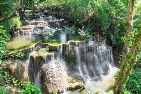 Waterfall tropical rainforest beautiful natural at huai mae khamin national park,kanchanaburi,thailand Stock Photo