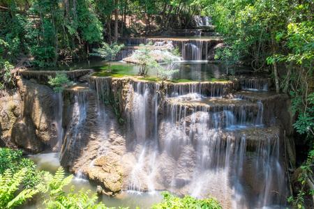 Viewpoint 4 floor waterfall natural freshness at huai mae khamin,kanchanaburi,thailand