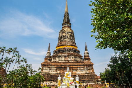 Temple ancient place of worship famous at wat yaichaimongkol,ayutthaya,thailand