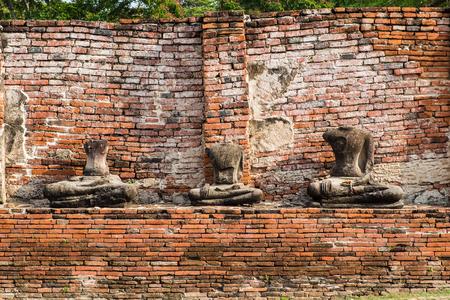 Temple buddha statue pagoda ancient ruins invaluable at ayutthaya,thailand Stock Photo