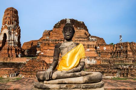 Temple buddha statue pagoda ancient ruins invaluable at wat phra mahathat,ayutthaya,thailand