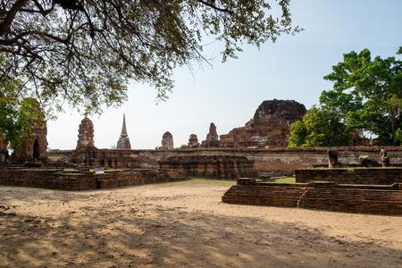 Temple pagoda ancient ruins invaluable at Wat Phra Mahathat,ayutthaya,thailand