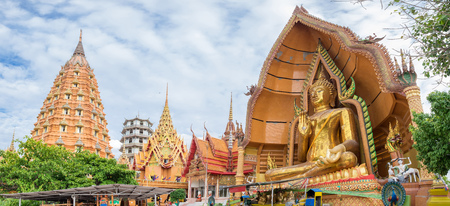 Temple landmark buddha with pagoda golden statue,wat tham sua,kanchanaburi,thailand
