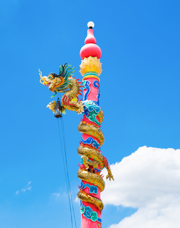 Dragon bind pole chinese on blue sky