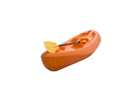 Kayak orange boat and paddle,isolated on background Stock Photo
