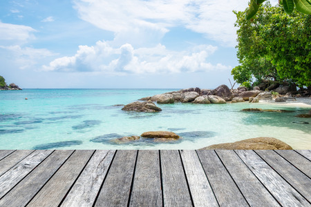 Wood plank gray on crystal sea in lipe island Stock Photo