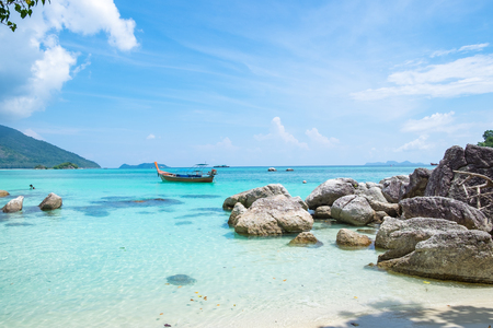 Andaman crystal sea white sand beach at lipe island