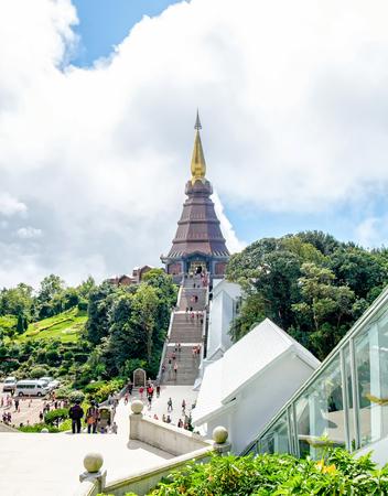 파고다 예배의 풍경 아름 다운, doi inthanon, 치앙마이, 태국 스톡 콘텐츠