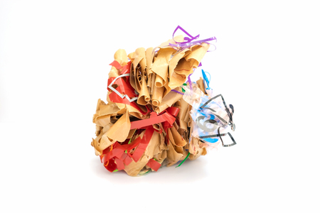Colorful crumpled paper brown shape adhesive tape grotesquely,on white background Stock Photo
