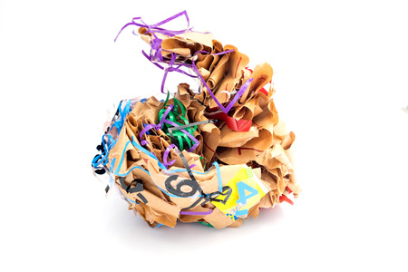 Colorful crumpled paper brown shape adhesive tape grotesquely,on white background Stock fotó