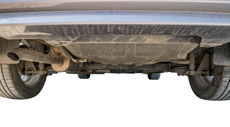 Car undercarriage dust dirty,on white background