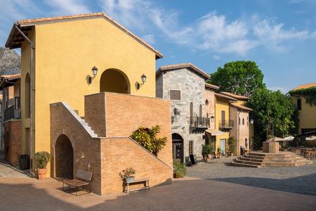 Italian architecture antique brick building elegant at primo piazza,khao yai