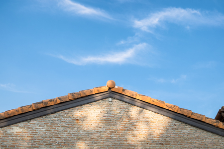 Architecture brickwork vintage gable and blue sky