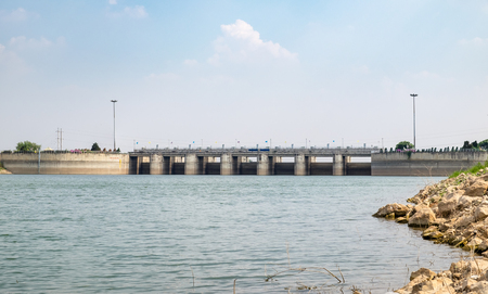 Landscape dam of Pa Sak Jolasid Dam,Lopburi,Thailand Stock Photo