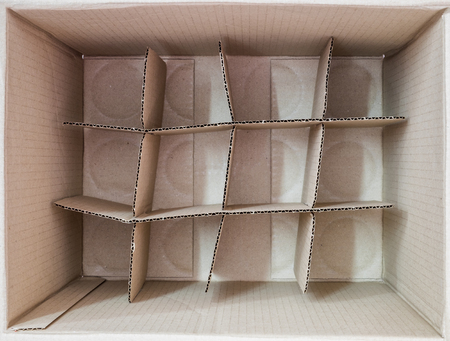 Inside brown box packaging table square Stock Photo