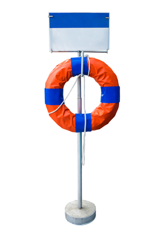 Post signboard with life buoy ring,isolated on background